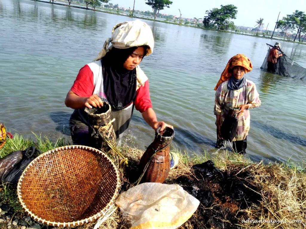 Membershikan peralatan penangkap ikan
